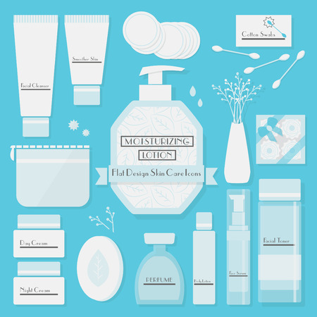 Skin cares products icons set on blue background - Modern flat design