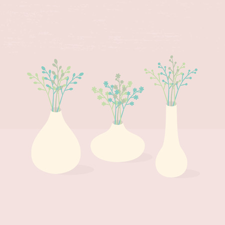 Set of different vases with wildflowers on pink textured background Vector