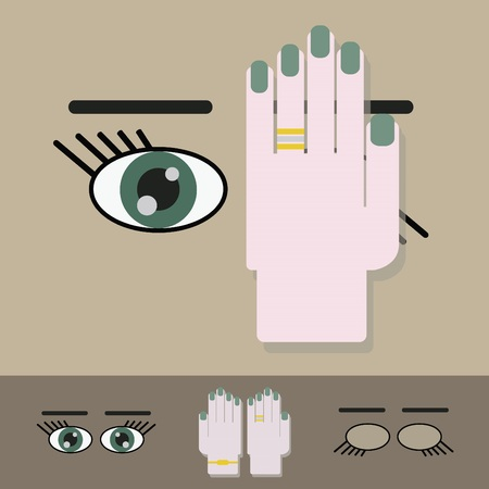 one eye: Vision screening check- Hand on one eye