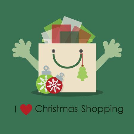 I love Christmas shopping - Cute smiley gift bag Vector
