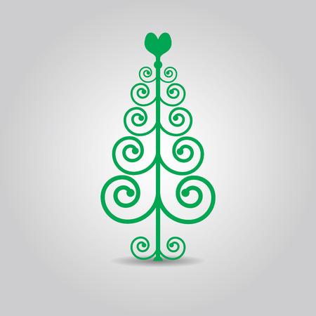 green swirl: Abstract green swirl Christmas love tree icon Illustration