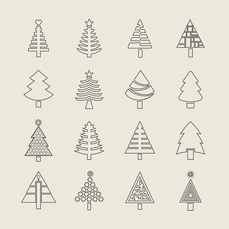 Abstract out line Christmas tree icons set Vector
