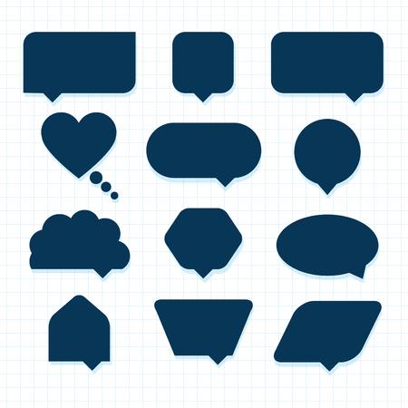round corner: Assorted empty round corner silhouette speech bubble icons set