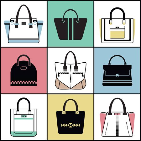 Outline and silhouette fashionable women purse set Stock Illustratie