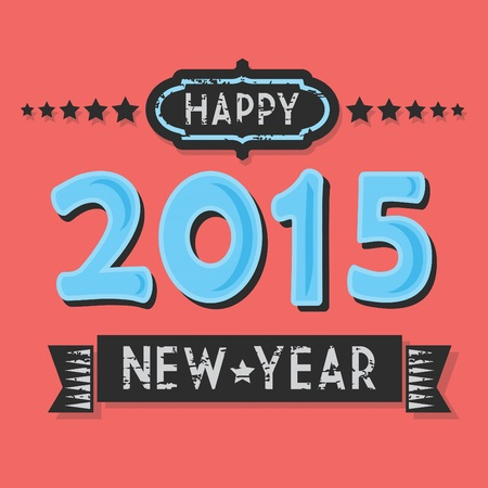 Vintage textured Happy 2015 New Year, flat design on hot coral background Vector