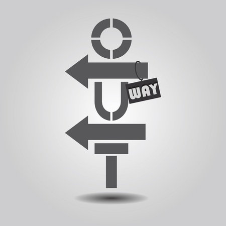 way out: Way Out abstract vertical sign on gray gradient background Illustration