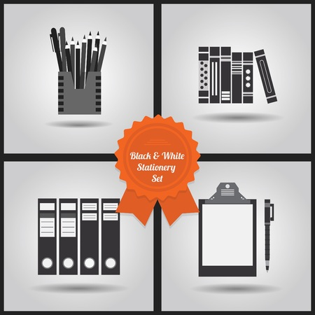 objects: Black and white stationery icons set on gray gradient background Illustration