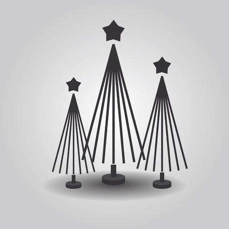Abstract triple Christmas trees with star, and drop shadow on gray gradient background Иллюстрация