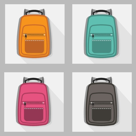 Set of colorful backpack icons with long shadow