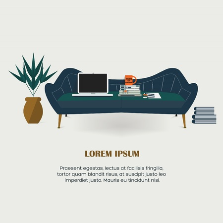 workaholic: Workaholic - Working at home, couch, laptop, books, mug, and a plant Illustration