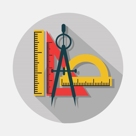 Compass and rulers icons with long shadow on gray background - Modern flat design Illustration