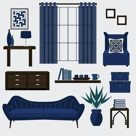 furniture: Living room furniture and accessories in color navy blue