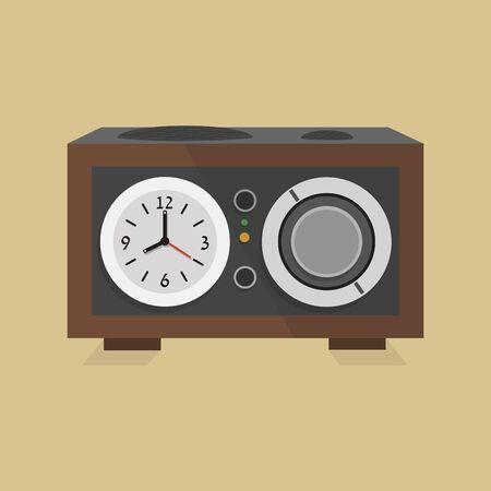 clock radio: Retro icono del reloj de radio moderna - Dise�o plano Vectores