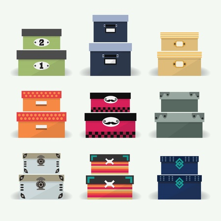 Assorted colorful organizer and decoration boxes set