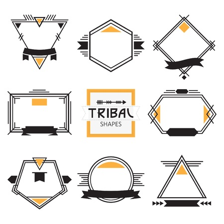 native american art: Assorted modern tribal out line shapes, labels and emblems set