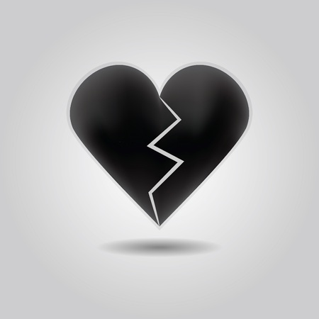 heartache: Black abstract broken heart icon with drop shadow on gray gradient background