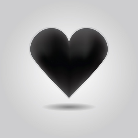heartache: Black abstract heart icon with drop shadow on gray gradient background Illustration