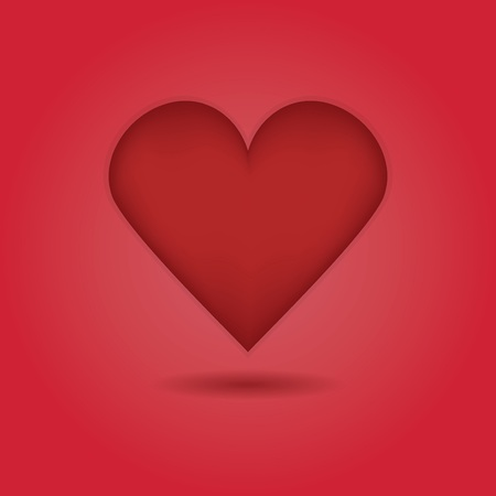Red abstract single heart icon with drop shadow on red gradient background