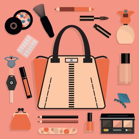 lip stick: Fashionable women purse and cosmetic set in pink and coral