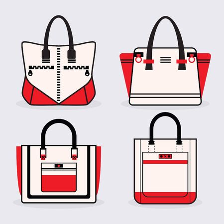 designer bag: Fashionable women red, black and white purse icons set