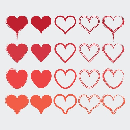 Set of different heart shapes icons in modern red colors