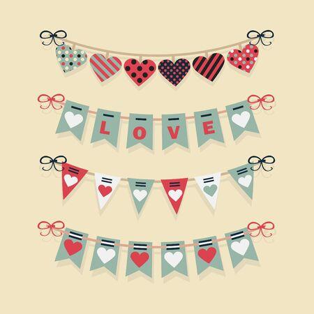 festive: Love buntings and festive garlands decoration set for Valentine\ Illustration