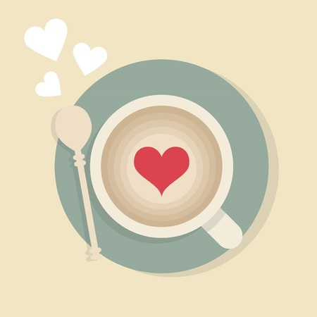 Cappuccino cup with red heart and a teaspoon from top view