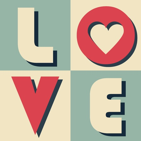 catchy: Word LOVE in retro tiled arrangement with black shadow