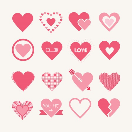 Assorted designs of pink hearts icons set on off white background - Flat design elements Vector