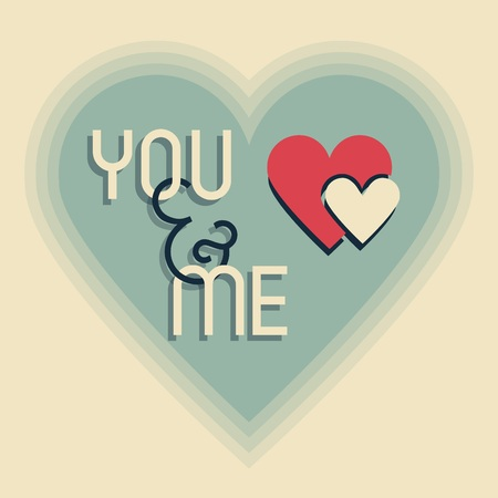 blended: Me and You on retro heart shape designs icon with blended shadows Illustration