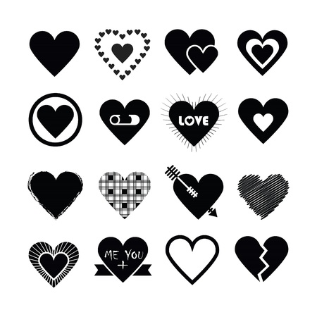 Assorted designs of black silhouette hearts icons set on white background Illustration