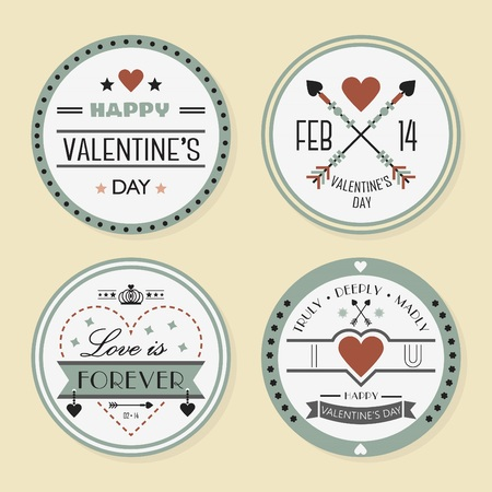 Valentines Day and romantic design elements badges set Illustration