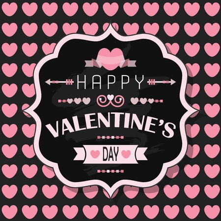 Happy Valentines Day retro chalk board badge on pink heart pattern background Vector