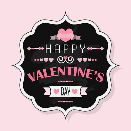 Happy Valentines Day retro chalk board badge on pink background Vector
