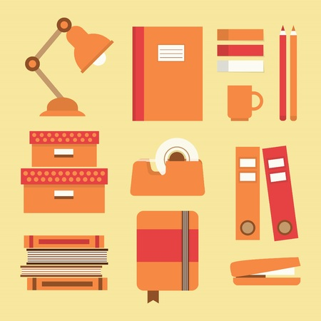 office supplies: Office supplies and stationery icons set - Flat design