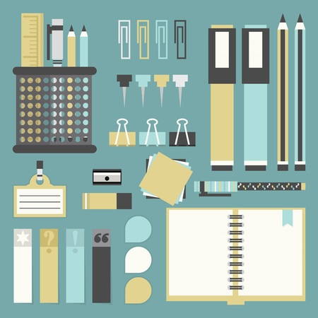 Office tools, supplies, and stationery icons set - Flat design Vector