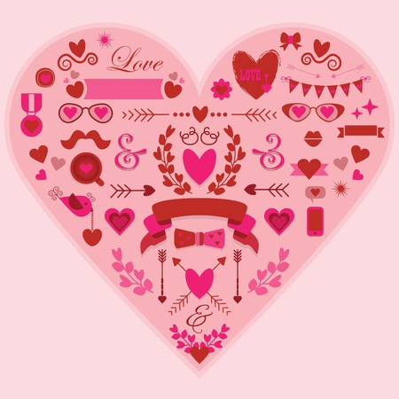 Hipster pink and red love and wedding design elements set Vector