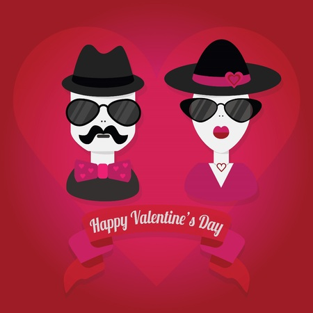 snobby: Hipster couple with hat and sunglasses on heart shape background - With Happy Valentine