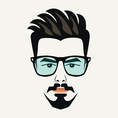 designer: Goatee beard young hipster male with highlighted hair and blue lenses glasses