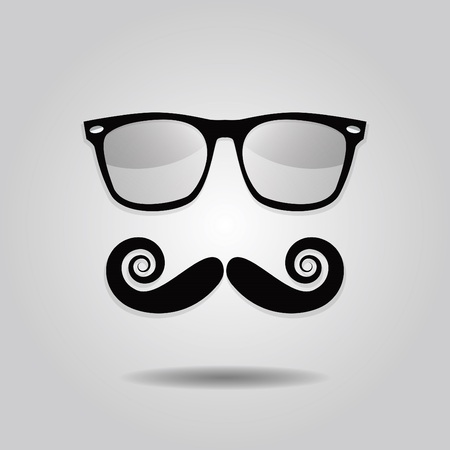 hipster mustache: Hipster mustache and sunglasses icons on gray gradient background