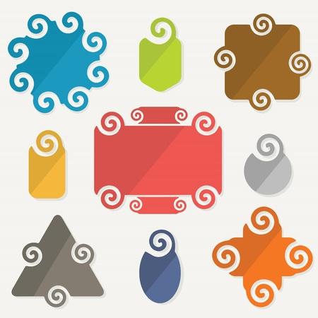 Colorful spiral shapes tag design elements set Vector