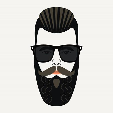 highlighted hair: Raffreddare maschile barba pantaloni a vita bassa con gelificata schiena evidenziati lenti capelli neri e gli occhiali da sole Vettoriali