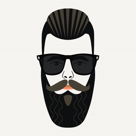 Cool beard hipster male with gelled back highlighted hair and black lenses sunglasses Illustration