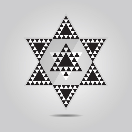 hexagram: Abstract geometrical triangle tile hexagram icon on gray gradient background Illustration