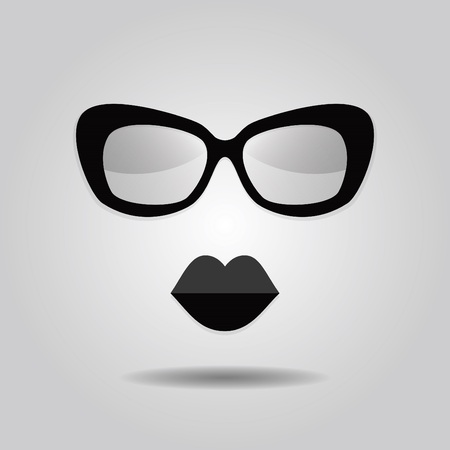 Hipster lips and sunglasses icons on gray gradient background