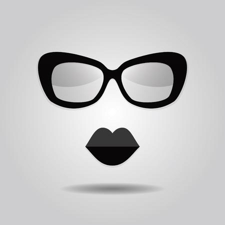 Labbra e occhiali da sole a vita bassa icone su sfondo grigio sfumato Archivio Fotografico - 36629545