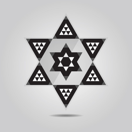 Abstract geometrical triangle tile hexagram icon on gray gradient background Vector