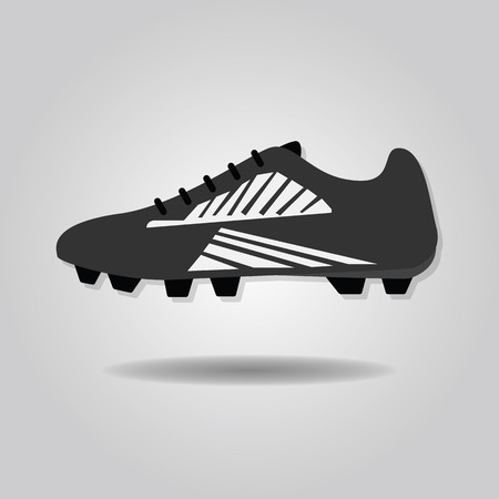 soccer shoe: Abstract soccer shoe icon on gray gradient background Illustration