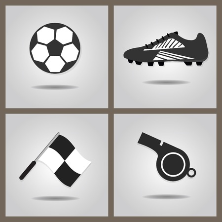 soccer shoe: Abstract soccer icons set with dropped shadow on gray gradient background - Soccer shoe, soccer ball, assistant referee flag, and blowing whistle