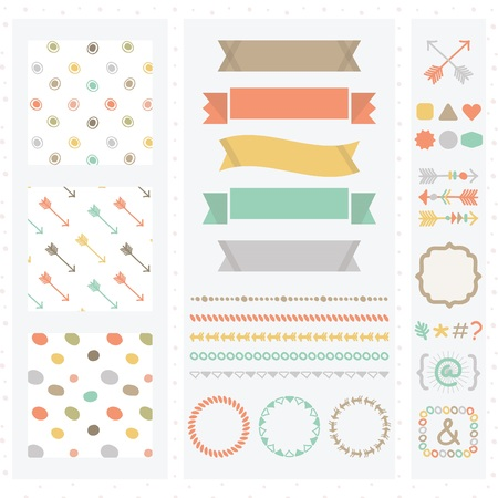 dividers: Cute light color design elements set